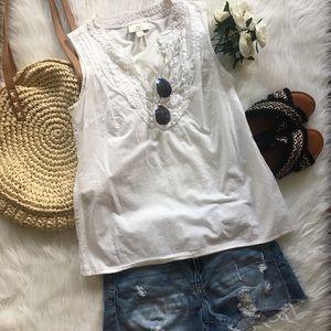 | LOFT | White Ruffle Sleeveless Top